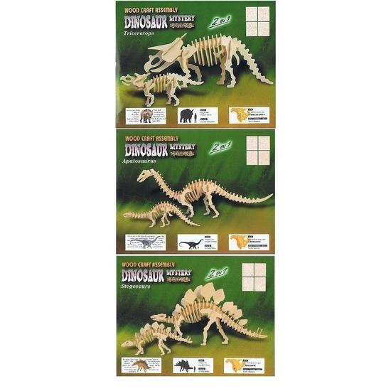3x Houten bouwpakketten van verschillende dinosuarussen