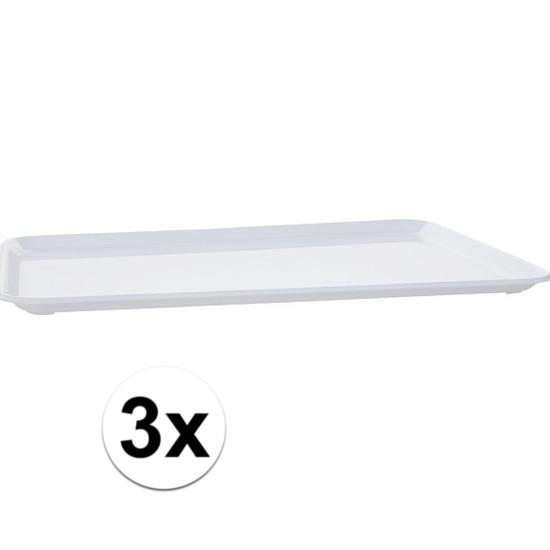 3x Plat dienblad wit kunststof 35 x 24 cm Wit