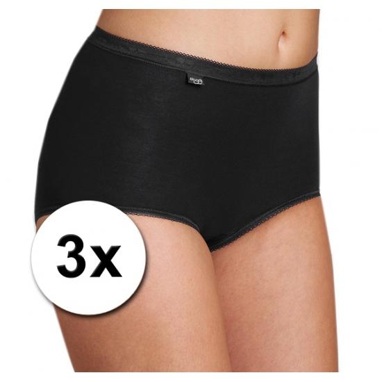 3x Sloggi basic maxi dames slip zwart Sloggi Ondergoed en Lingerie