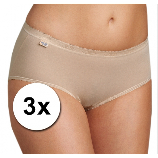 Sloggi 3x Sloggi basic midi dames slip huidskleur Ondergoed en Lingerie