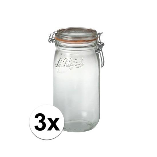 3x stuks Weckpotten/inmaakpotten met klepdeksel 1.5 liter