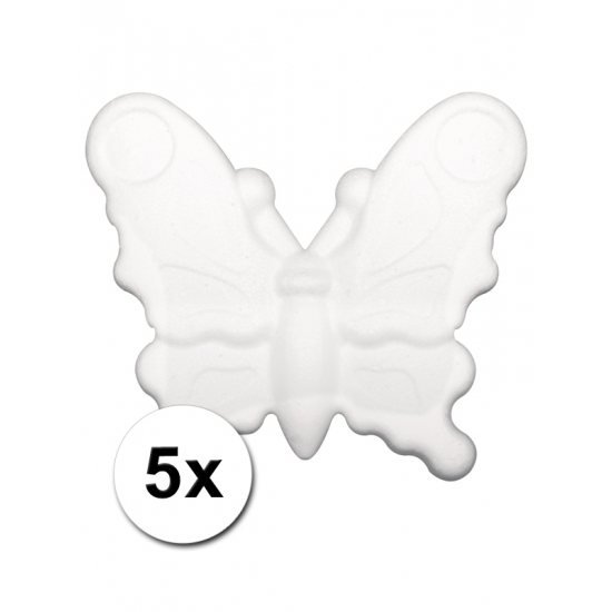 5 piepschuim vlinders 12,5 cm
