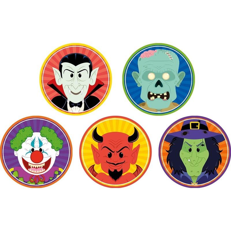 50x Halloween onderzetters clown/duivel/heks/vampier/zombie