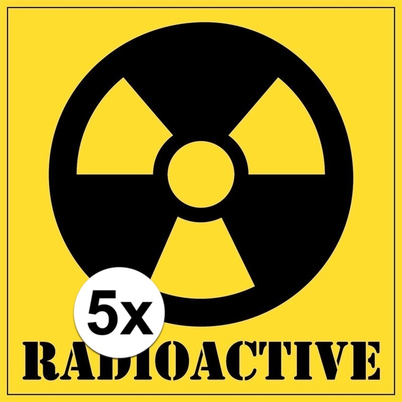 5x stuks halloween radioactive gevaren stickers