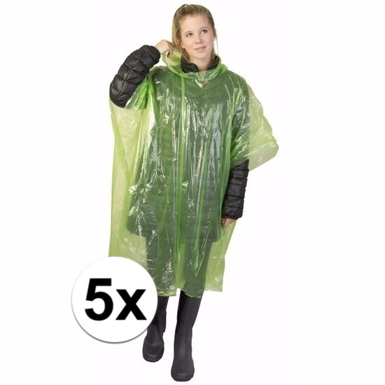 5x wegwerp regenponcho groen