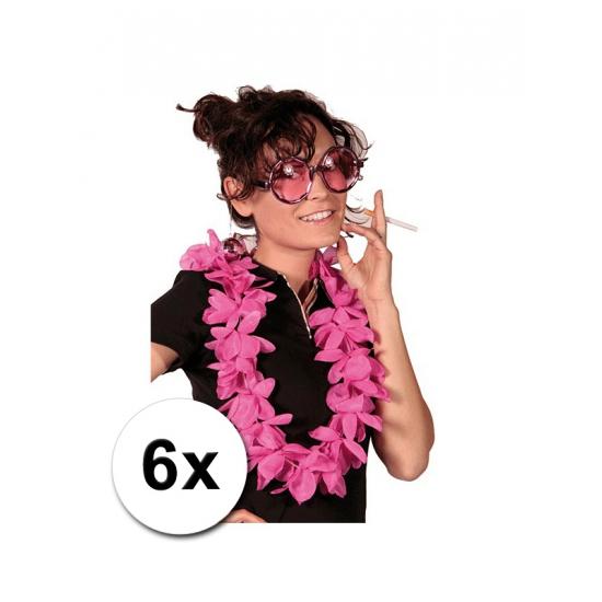 6 Luxe roze Hawaii kransen