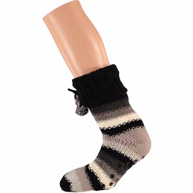 Beige zwarte dames huissokken met gekleurde strepen Apollo Sokken en Panty's