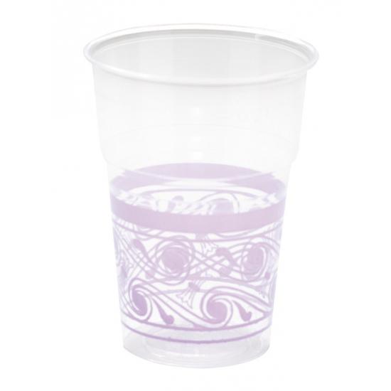 Bekers met lila paarse decoratie