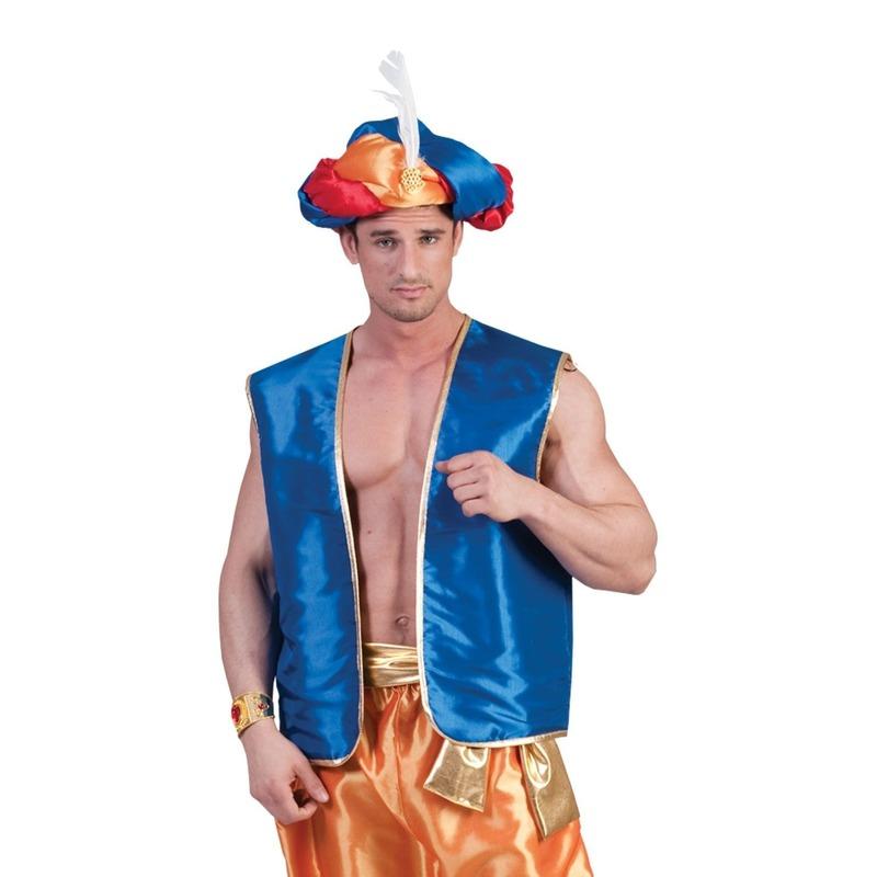 Blauw Arabisch vest voor volwassenen
