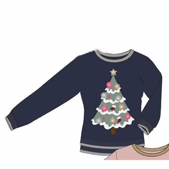 Kerst kostuums Geen Blauwe dames kersttrui met Kerstboom