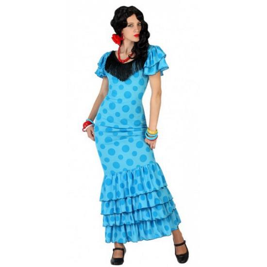 Blauwe Spaanse verkleedjurk