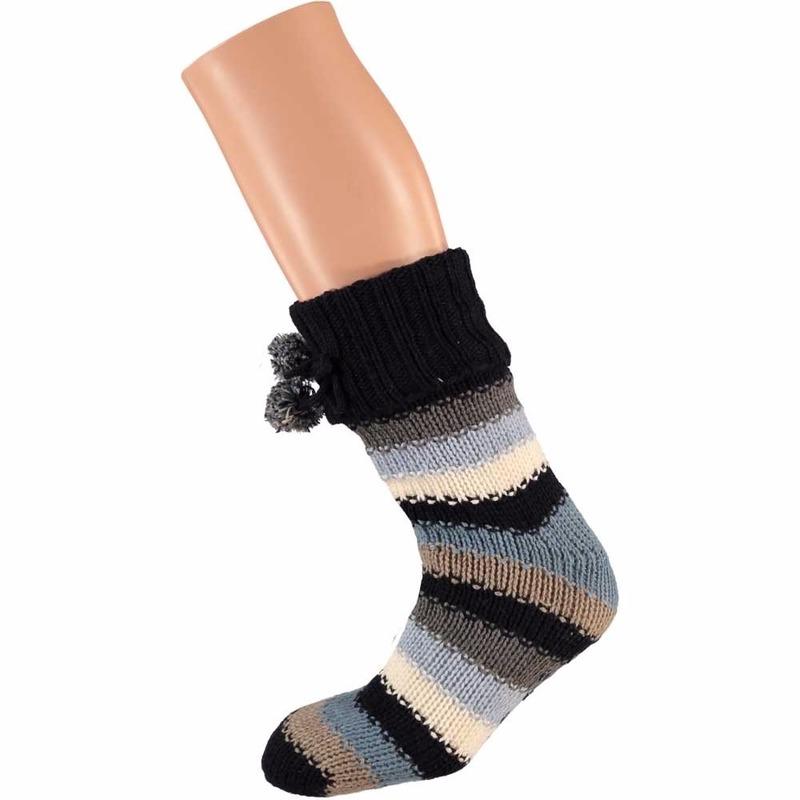 Apollo Blauwe zwarte dames huissokken met gekleurde strepen Sokken en Panty's