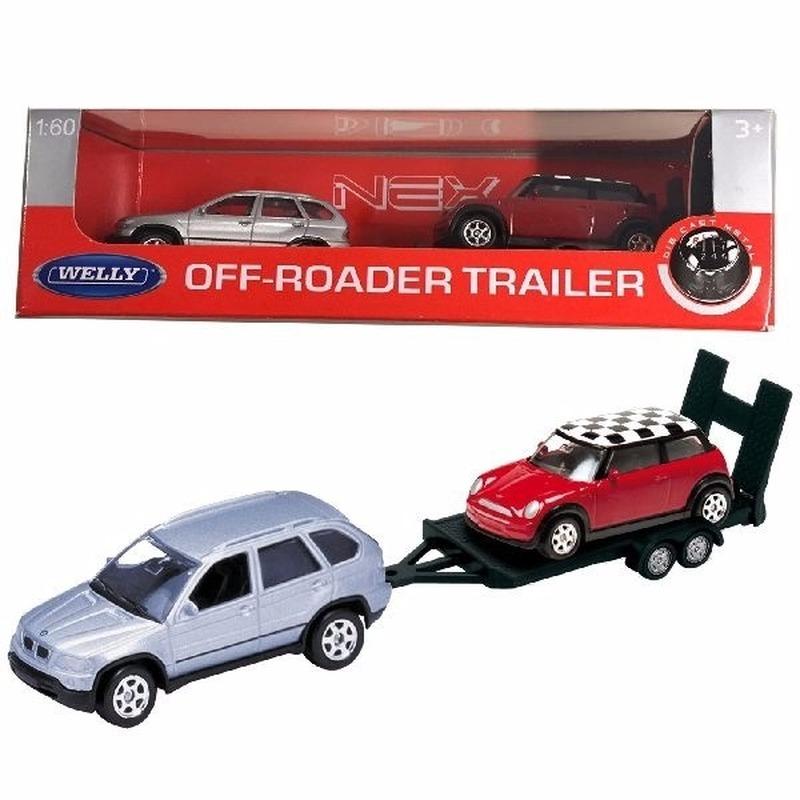 BMW X5 met auto op aanhanger speelgoed modelauto 1:60
