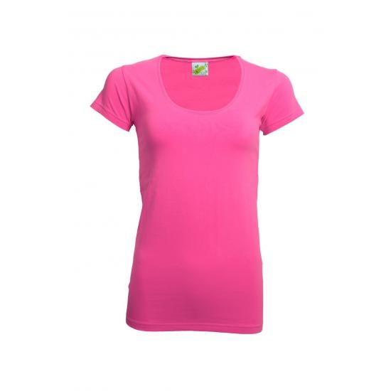 Lemon Soda Bodyfit fuchsia dames t shirt T shirts en poloshirts