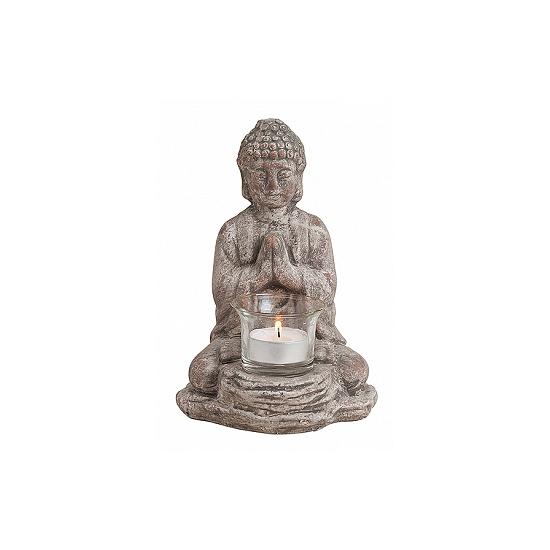 Boeddha beeldje theelichthouder 19 cm