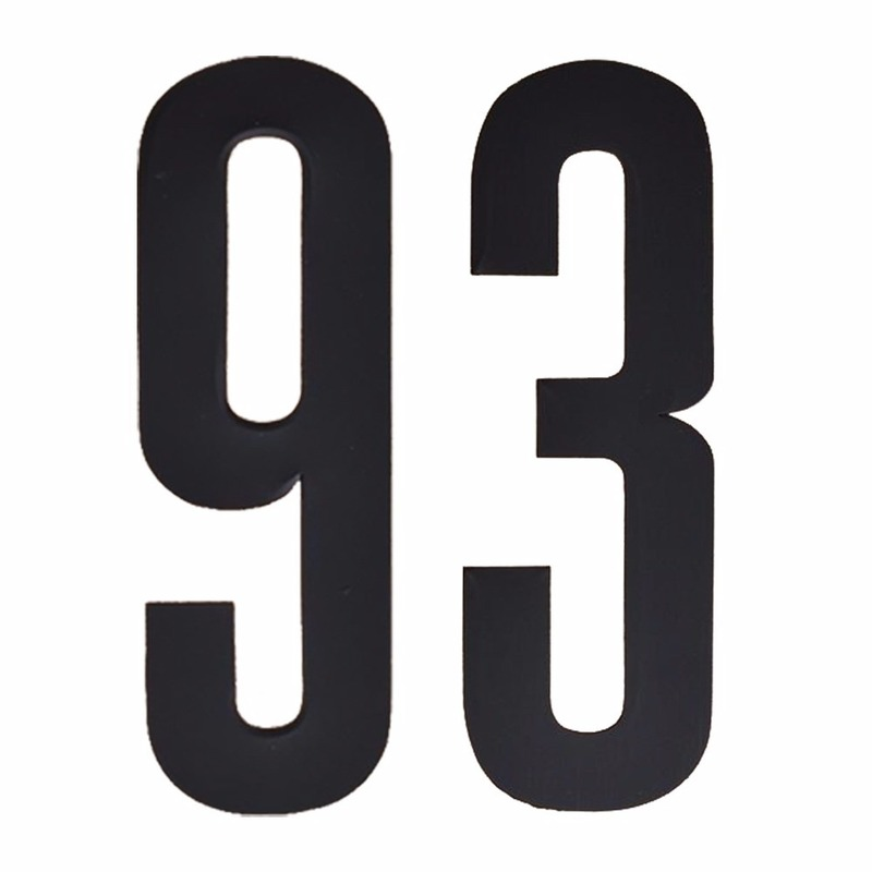 Cijfer sticker 93 zwart 10 cm
