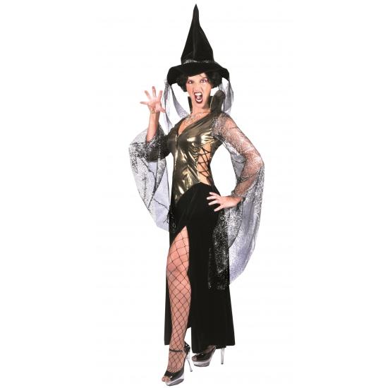 Complete heksen jurk zwart/goud
