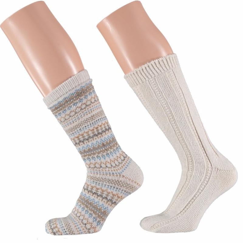 Sokken en Panty's Apollo Creme witte dames huissokken 2 paar