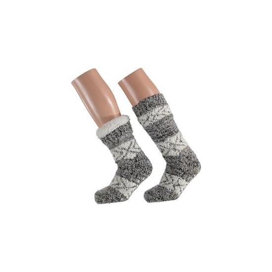 Sokken en Panty's Dames huissokken lichtgrijze moderne print