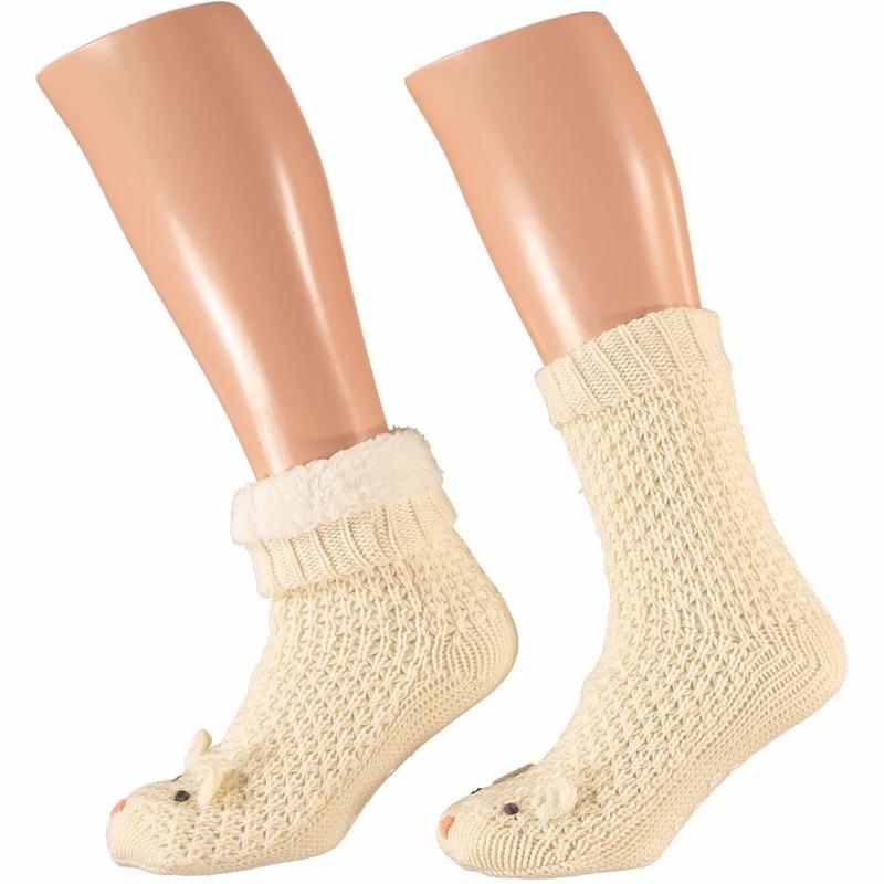 Sokken en Panty's Apollo Dames huissokken met muis print wit