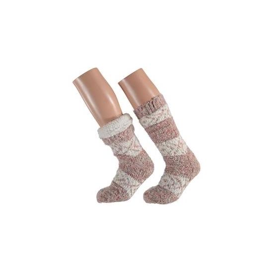 Bellatio Dames huissokken roze moderne print Sokken en Panty's