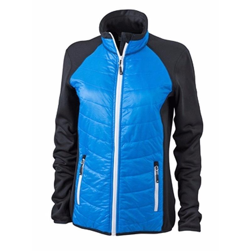 Jassen en bodywarmers Myrtle Beach Dames hybride jas zwart blauw en wit