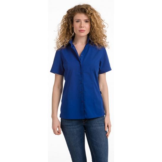 Overhemden Dames overhemd blauw korte mouw