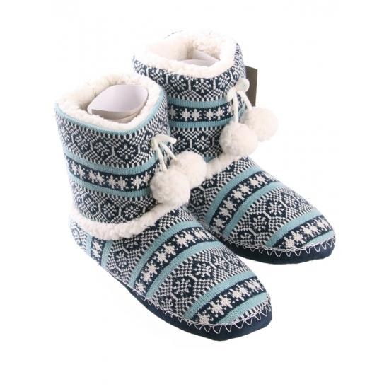 Dames pantoffels nordic blauw Bellatio Sloffen en Pantoffels