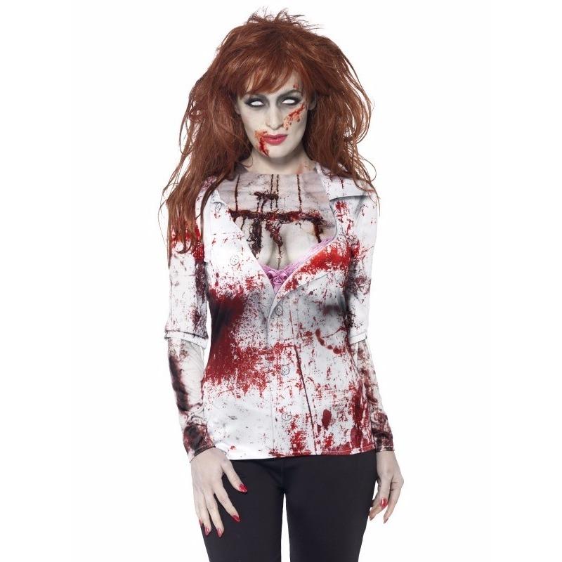 Dames shirt met bloederige zombie opdruk
