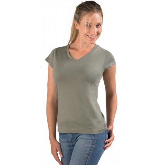 T shirts en poloshirts Sols Dames t shirt V hals kaky