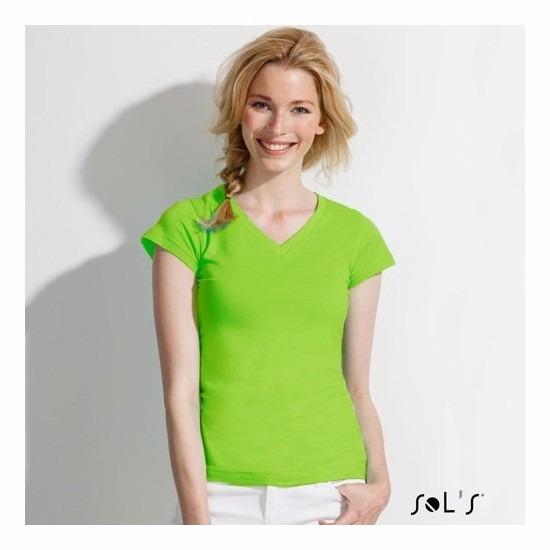 Dames t shirt V hals lime Sols goedkoop online kopen