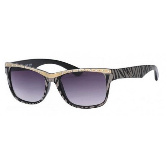 Dames zonnebril tijgerprint. zonnebril met grijs zwarte tijgerstrepen,  strassteentjes en grijze glazen. 4ab3ee88f37d