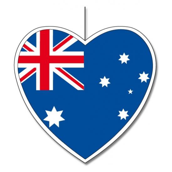 Decoratie hart Australie 14 cm