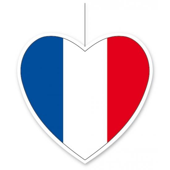 Decoratie hart Frankrijk 14 cm