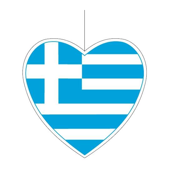 Decoratie hart Griekenland 30 cm