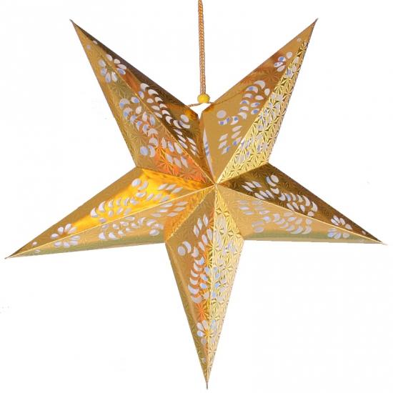 Decoratie ster lampion goud