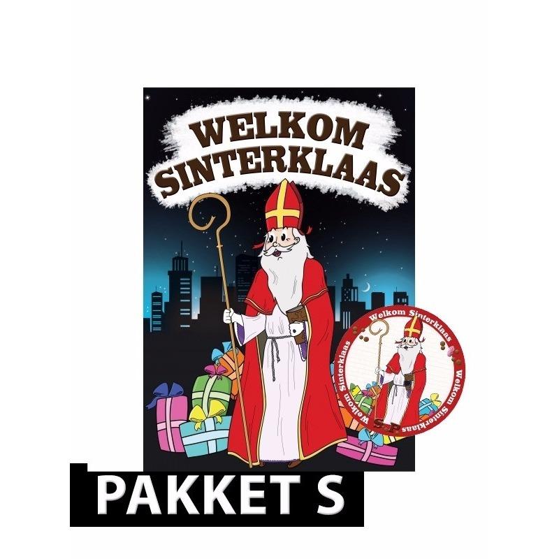 Deurposter met 50 onderzetters Sinterklaas