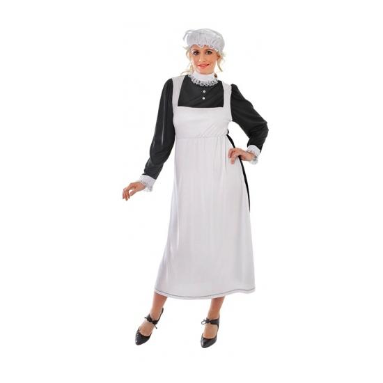 Dienstmeisje kostuum met mutsje S Wit