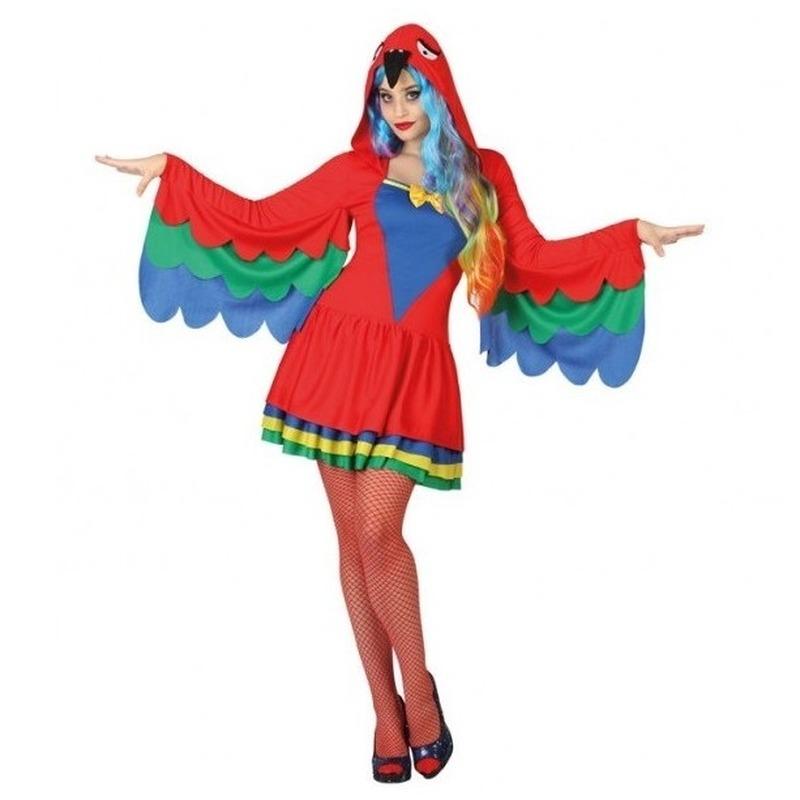 Dieren verkleed jurkje papegaai voor dames