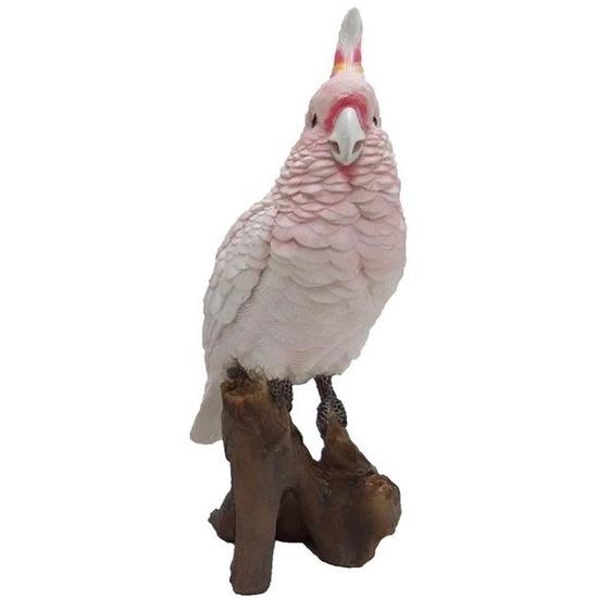 Dierenbeeld roze kaketoe 25 cm
