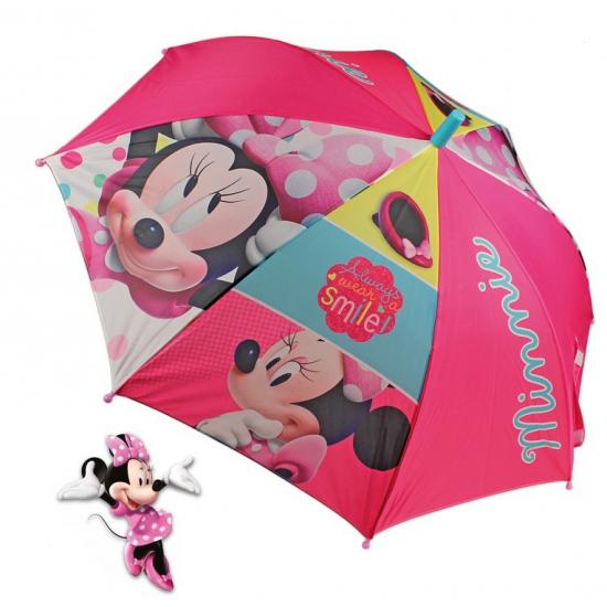 Outdoor Vakantie Disney Minnie Mouse paraplu roze 96 cm