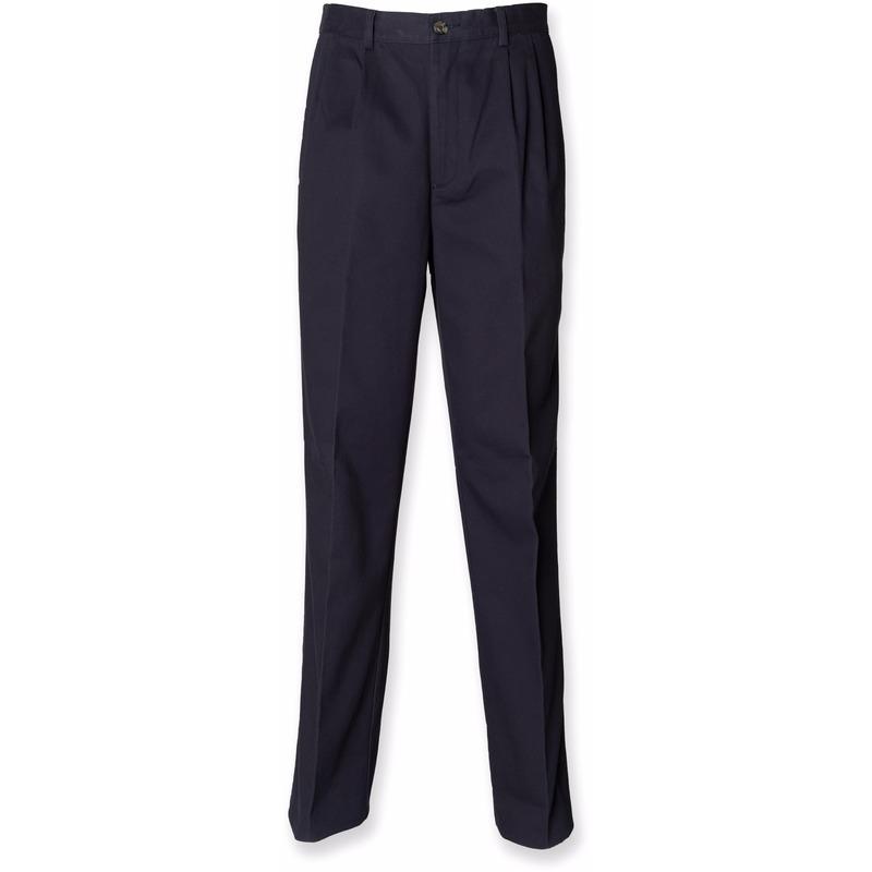 Donkerblauwe katoenen lange broek voor heren Henbury Broeken