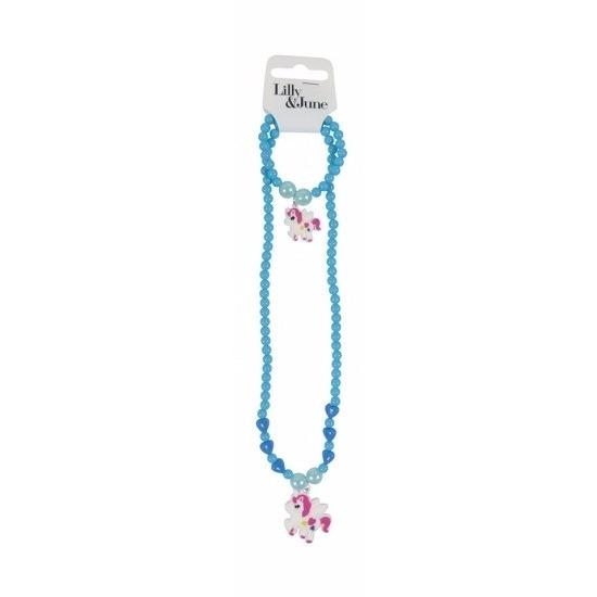 Eenhoorn sieraden setje turquoise/blauw voor meisjes