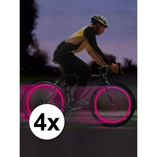 Fiets ventiel LED lampjes roze 4x stuks