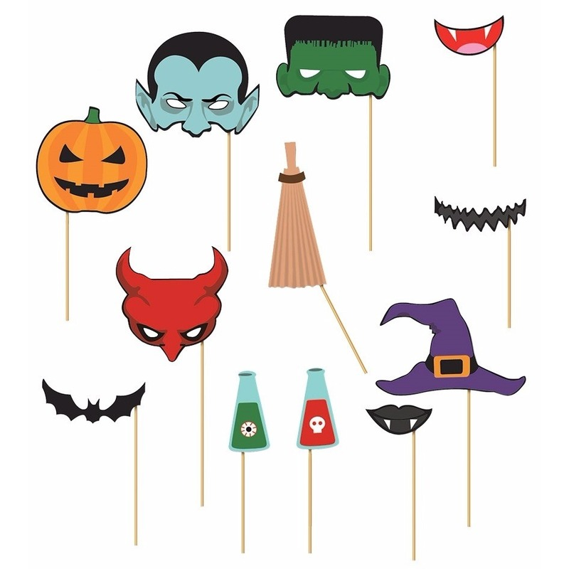 Foto prop set Halloween 12 stuks
