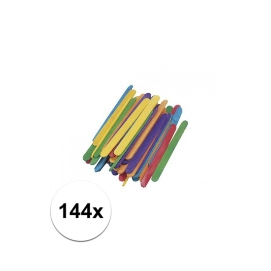 Gekleurde knutselhoutjes 144 stuks