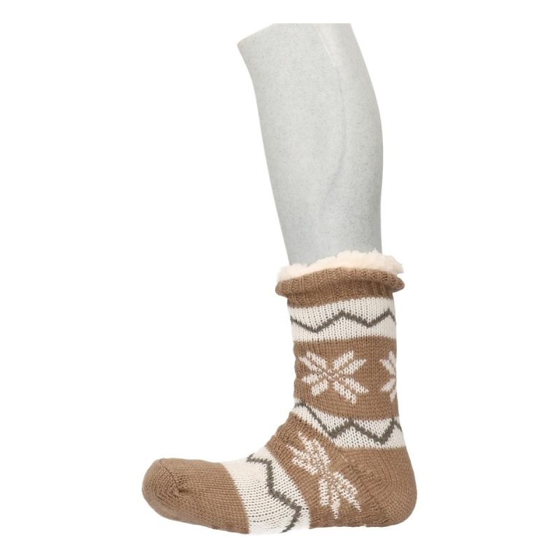 Sokken en Panty's Bellatio Gevoerde Noorse huissokken beige wit