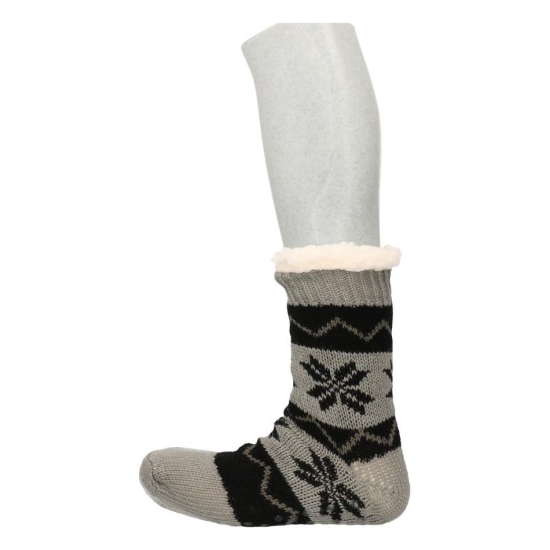 Sokken en Panty's Gevoerde Noorse huissokken grijs zwart