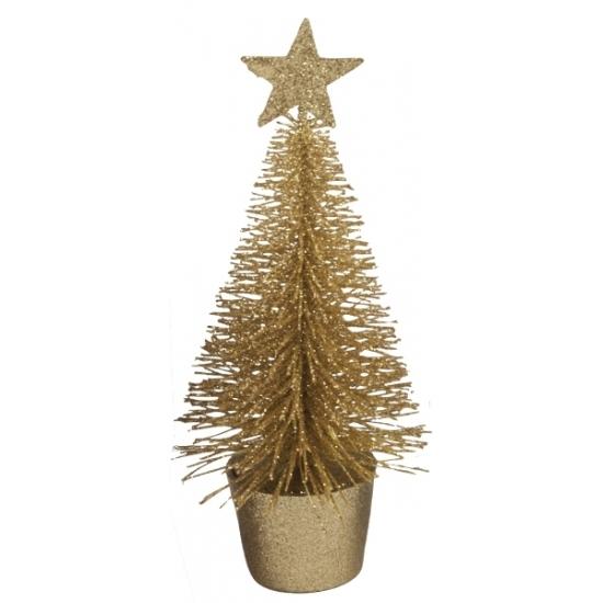 Geen Glitter mini kerstboompje goud Goudkleurig
