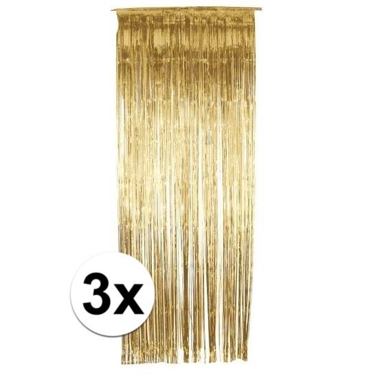 Gouden deurgordijnen 244 cm 3 stuks